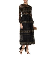 COSTARELLOS Sequinned Lace Midi Black Dress