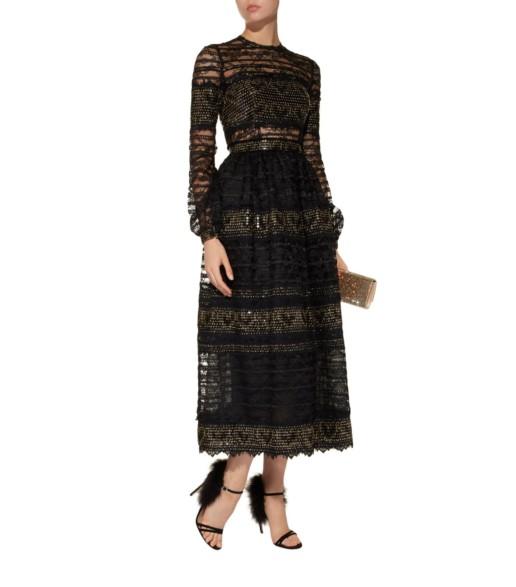 COSTARELLOS Sequinned Lace Midi Black Dress
