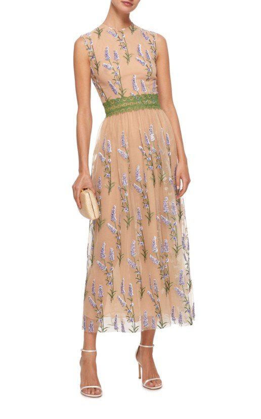 COSTARELLOS Sleeveless Embroidered Sequin Tulle And Lace Trim Neutral Dress