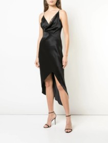 CUSHNIE Cowl Neck Wrap Black Dress