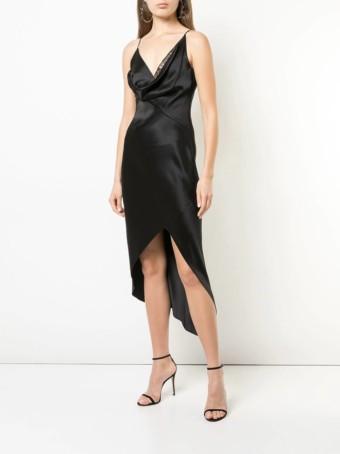 CUSHNIE Cowl Neck Wrap Black Dress