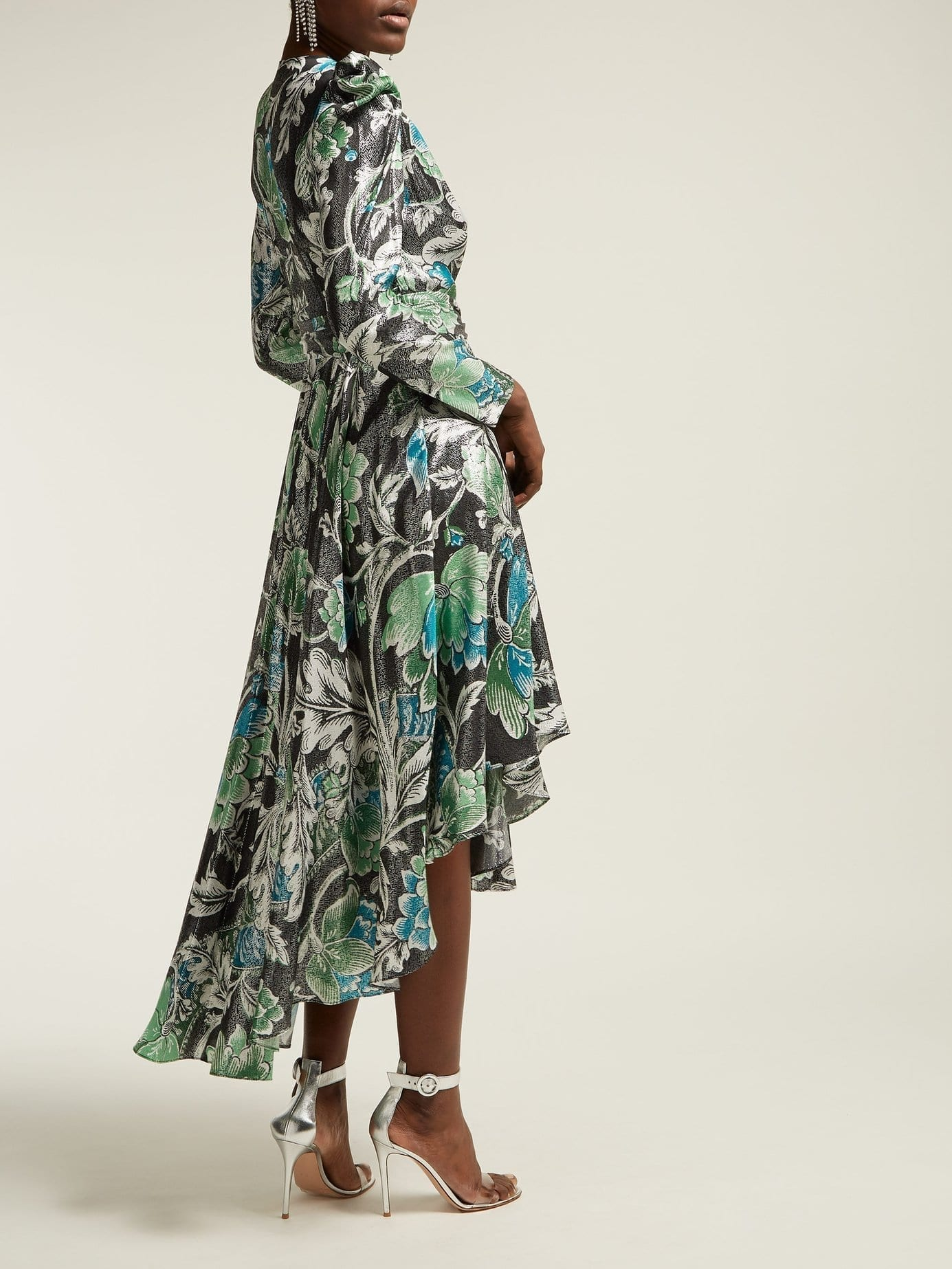 bfcad708090130 DIANE VON FURSTENBERG Darcey Tiger Lily Print Metallic Wrap Green Dress