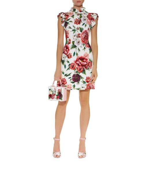 DOLCE & GABBANA Embellished Peony Print Multicolored Dress