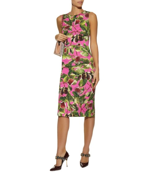 DOLCE & GABBANA Fig Print Sheath Multicolored Dress