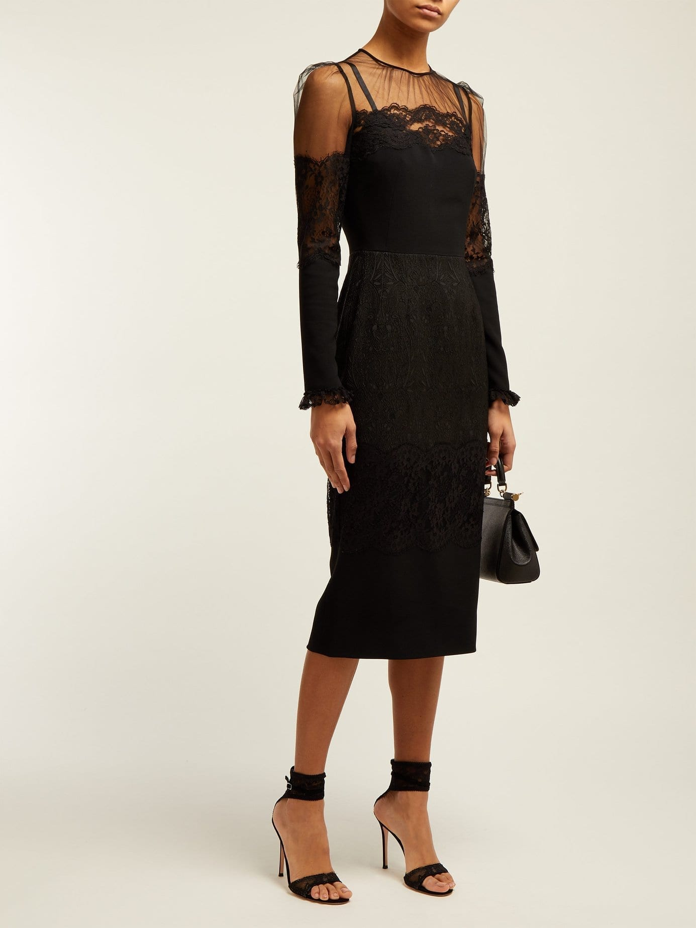 DOLCE & GABBANA High-neck Lace And Tulle Black Dress