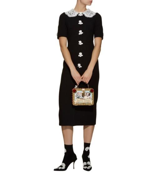 DOLCE & GABBANA Lace Trim Angel Black Dress