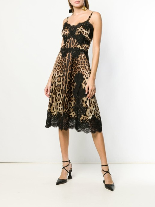 DOLCE & GABBANA Leopard Print Flared Midi Black Dress