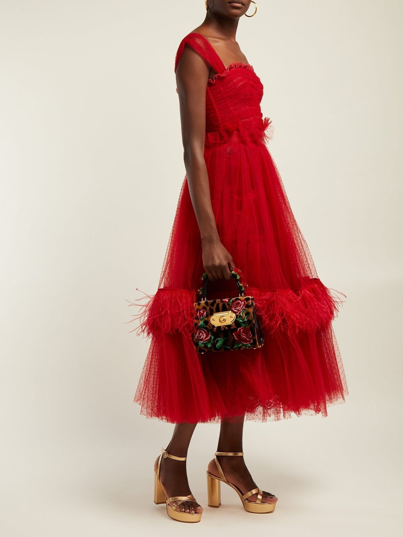 DOLCE & GABBANA Ruffle Trimmed Tulle & Feather Red Gown