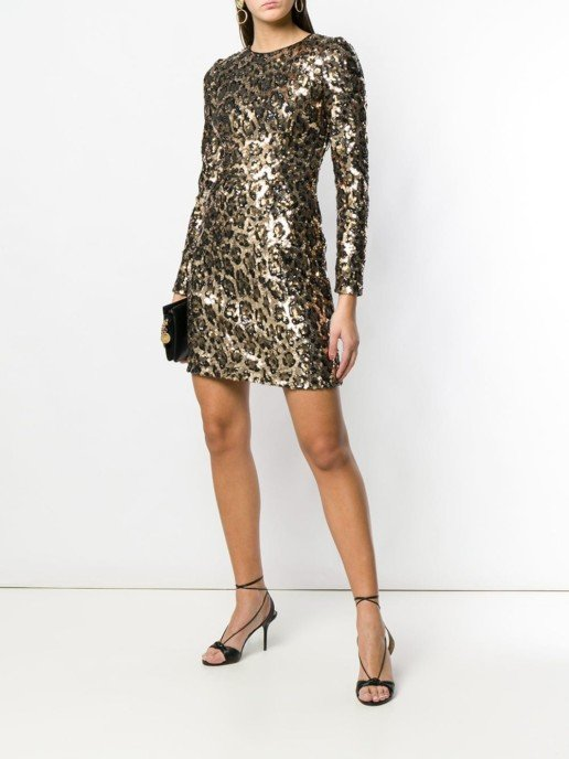 DOLCE & GABBANA Sequined Mini Leopard Printed Dress