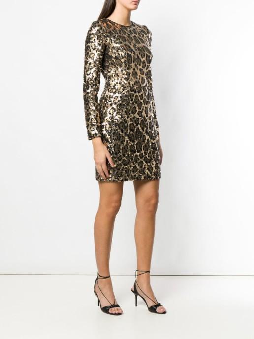 DOLCE & GABBANA Sequined Mini Leopard Printed Dress