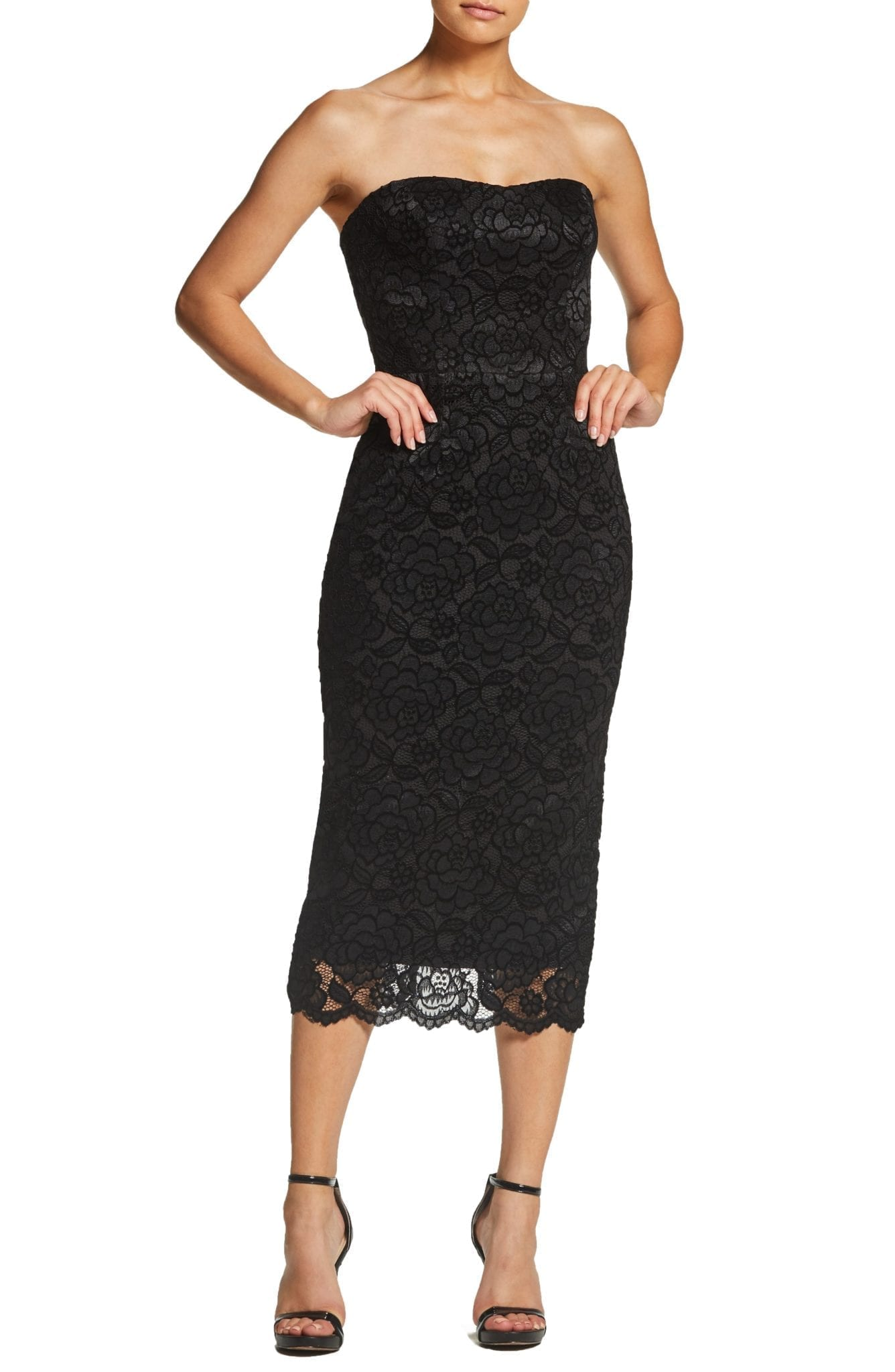 DRESS THE POPULATION Claire Strapless Velvet Lace Midi Black / Charcoal Dress