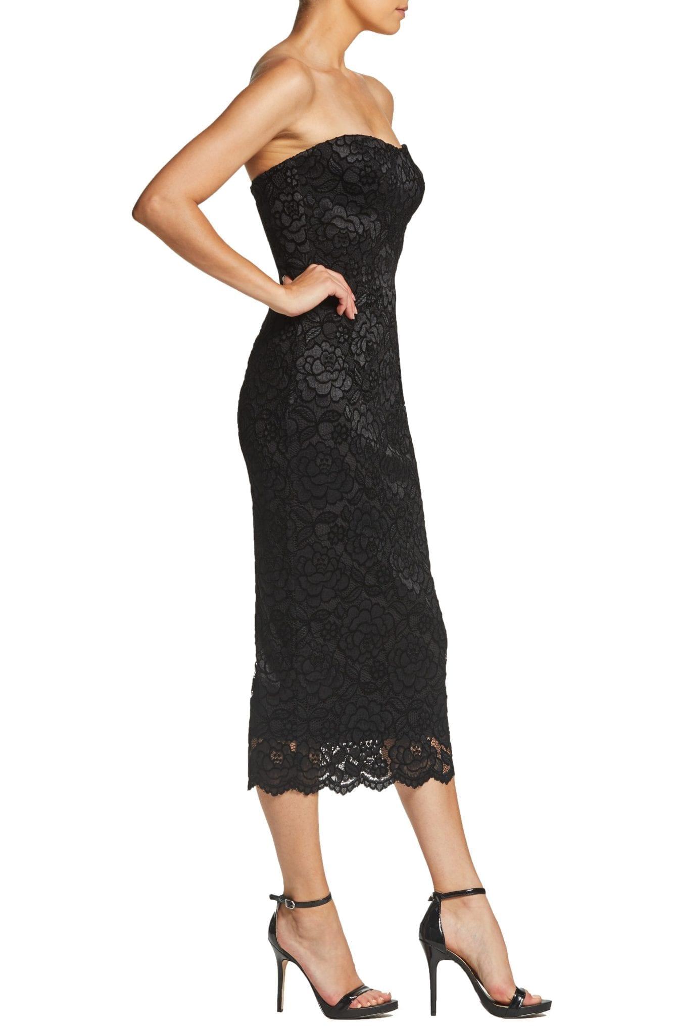 24bda3ca2ca93 DRESS THE POPULATION Claire Strapless Velvet Lace Midi Black / Charcoal  Dress