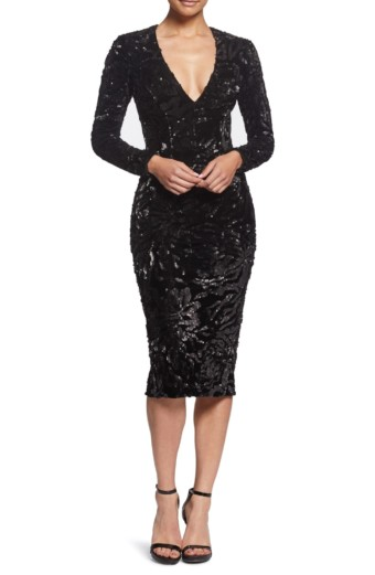 DRESS THE POPULATION Elizabeth Sequin & Velvet Midi Sheath Black Dress