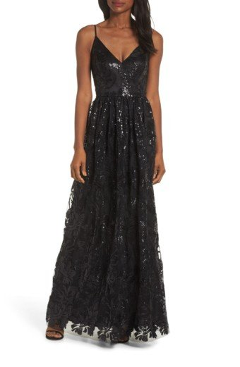 ELIZA J Sequin Embroidered Mesh Evening Black Dress