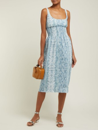 EMILIA WICKSTEAD Python-print Shirred Linen Midi Blue Dress