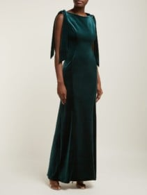 EMILIO DE LA MORENA Princess Cut Velvet Dark Green Dress
