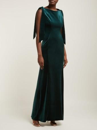 EMILIO DE LA MORENA Princess Cut Velvet Dark Green Dress