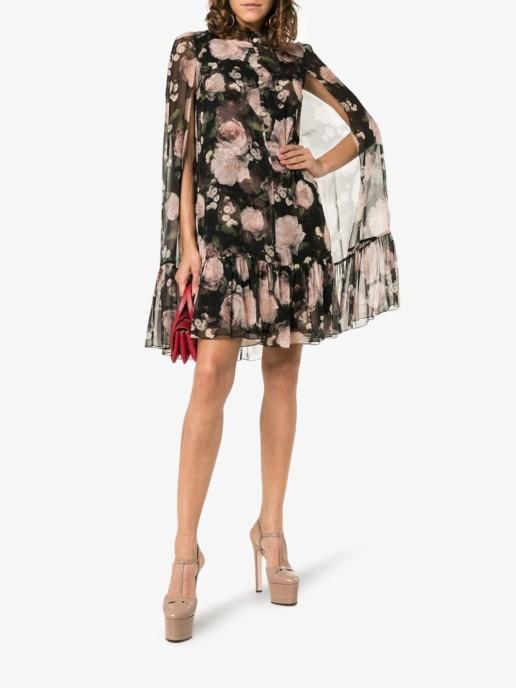 ERDEM Constantine Rose Print Silk Black / Pink Dress