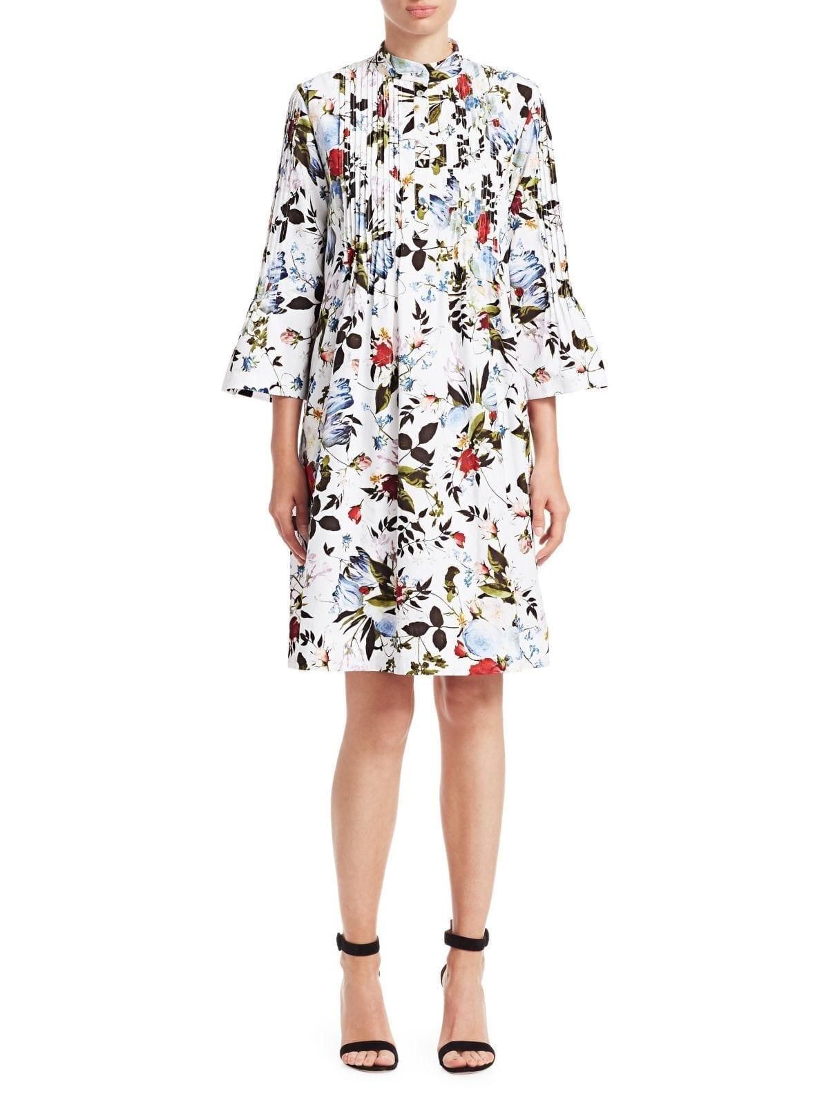 ERDEM Reagan Plisse A-Line Shirt White / Floral Printed Dress