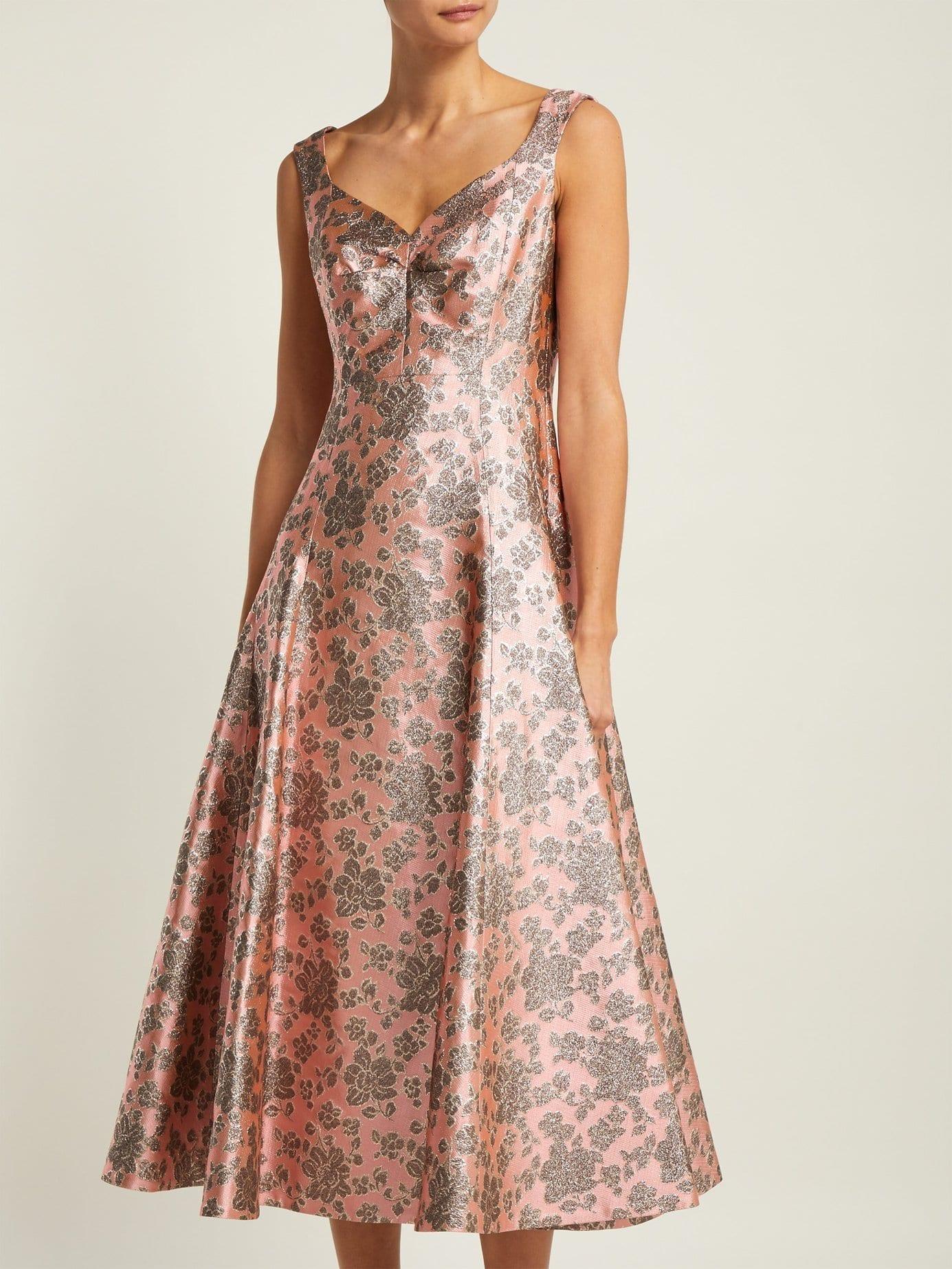 ERDEM Verna Floral Jacquard Midi Pink Dress