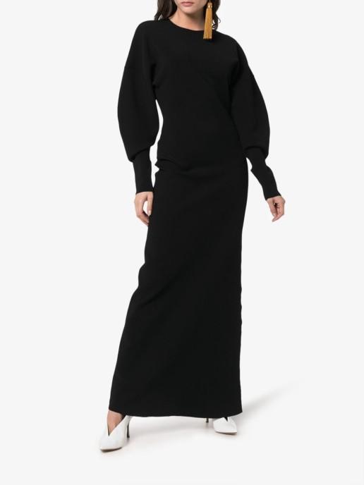 ESTEBAN CORTAZAR Cut Out Back Maxi Black Dress