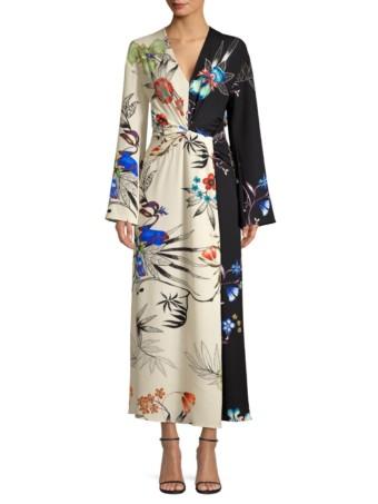 ETRO Tropical Print Maxi White Dress