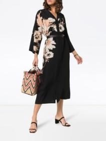ETRO V-neck Silk Kaftan Black / Floral Printed Dress