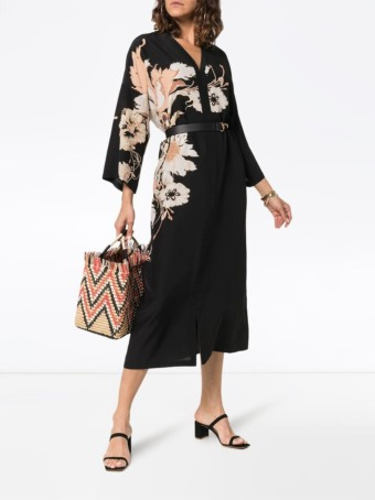 ETRO V-neck Silk Kaftan Black / Floral Printed Dress