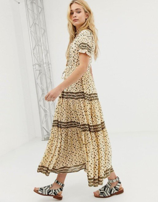 FREE PEOPLE Rare Feeling Floral Maxi Neutral Dress