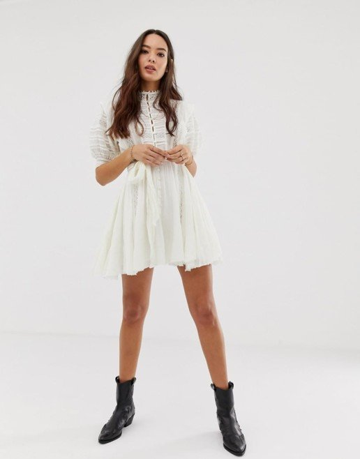 FREE PEOPLE Sydney Mini Shirt Ivory Dress