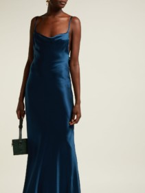 GALVAN Whiteley Silk Satin Blue Gown