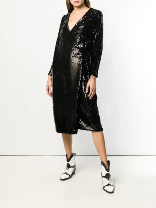 GANNI Sonora Sequin Black Dress