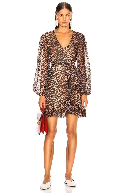 GANNI Tilden Mesh Brown / Printed Dress