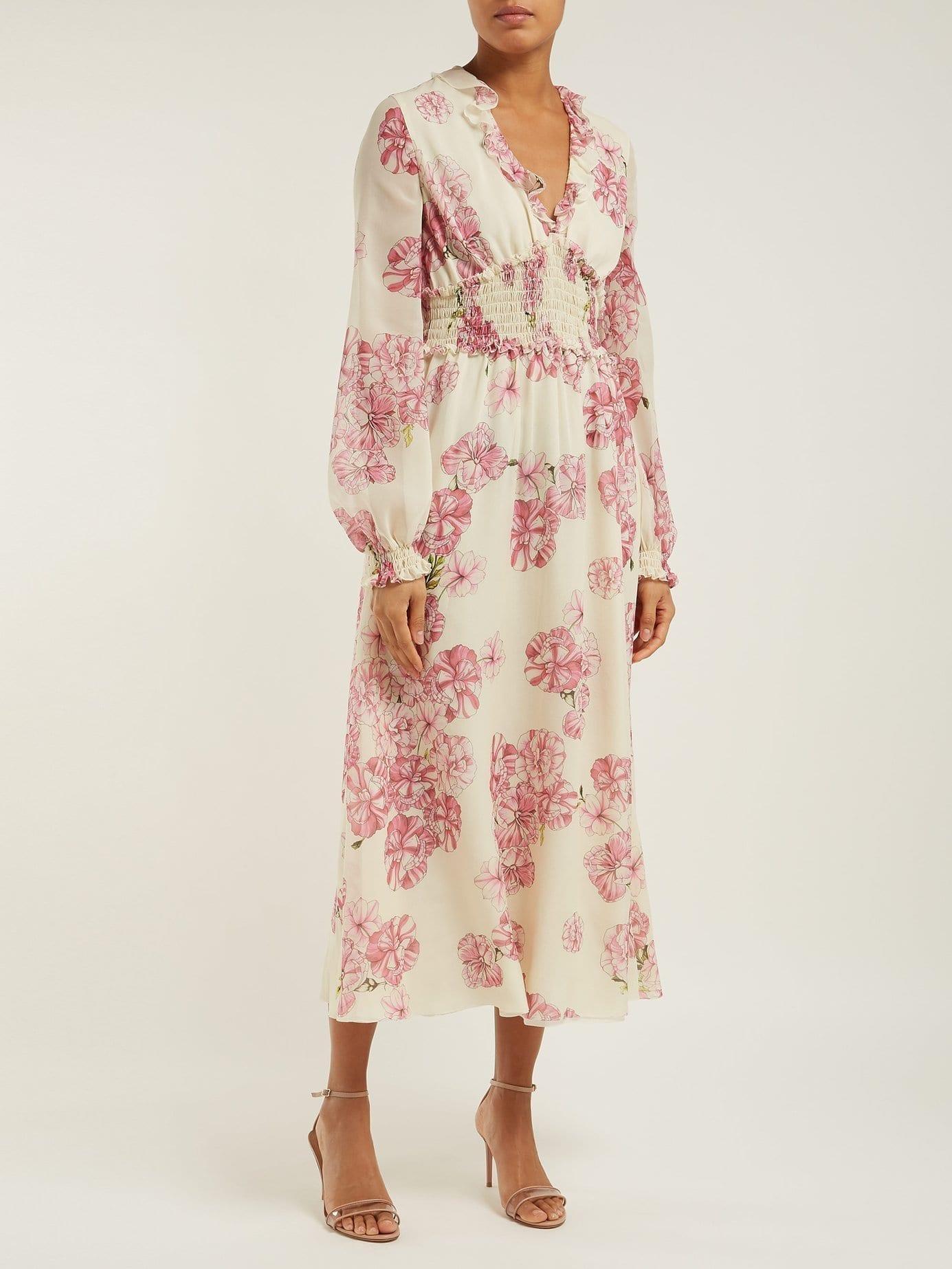 61982ff39427b GIAMBATTISTA VALLI Peony Print Silk Chiffon Midi Ivory Dress - We ...