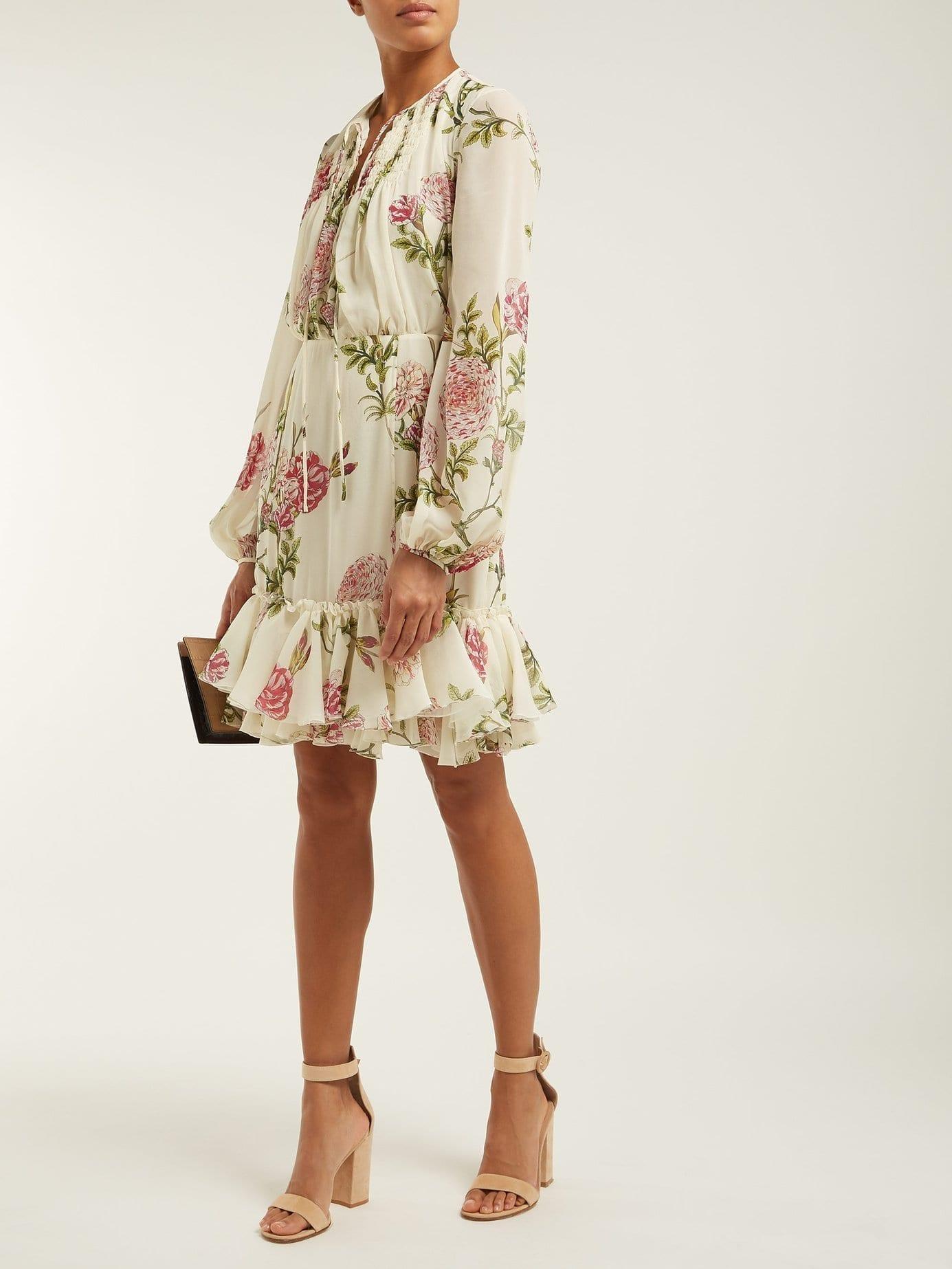 2cfe2fdd1f55 GIAMBATTISTA VALLI Peony Print Silk Chiffon Midi Ivory Dress - We ...