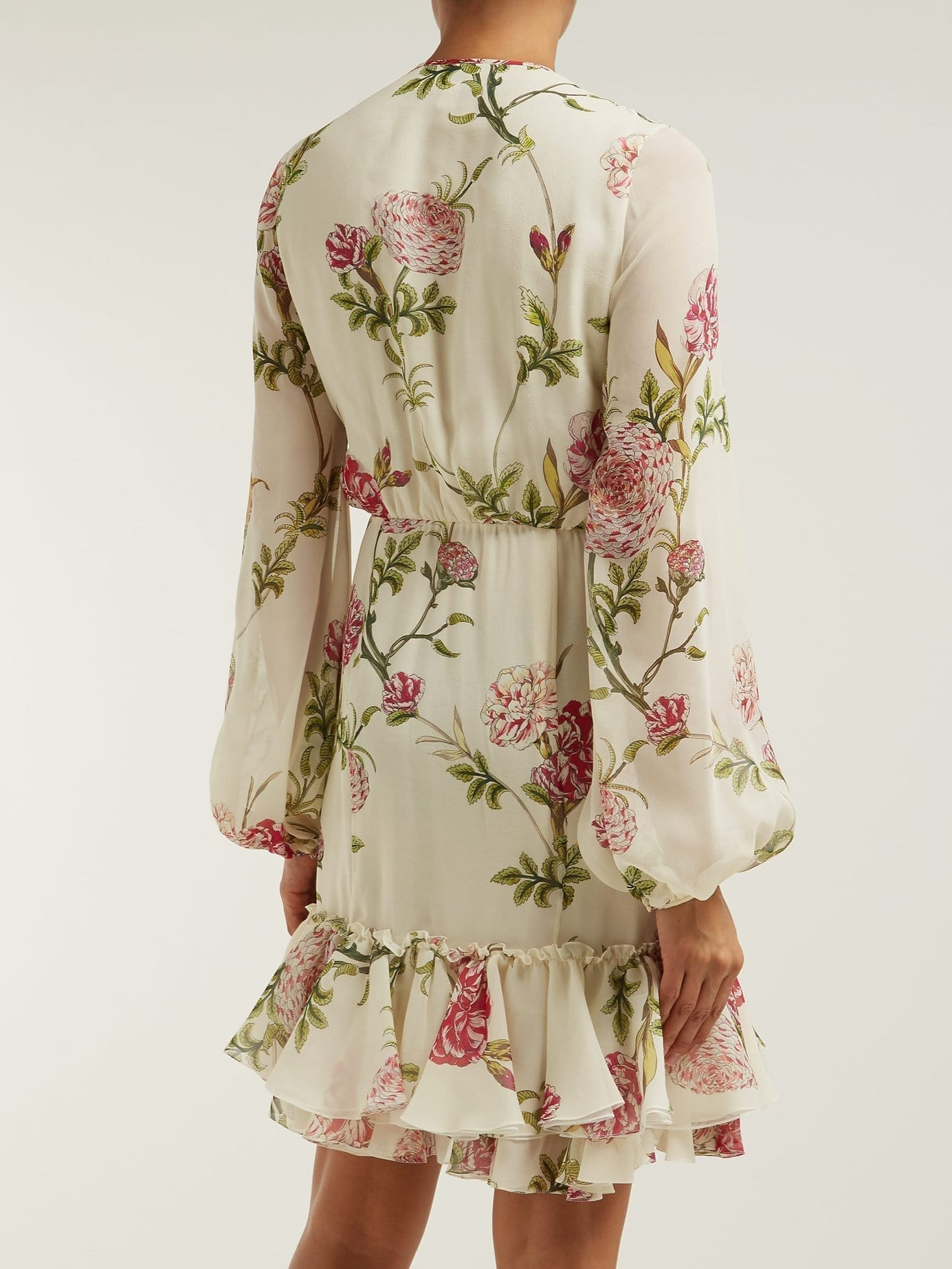 19d6f362e7f42 GIAMBATTISTA VALLI Peony-Print Silk-Chiffon Midi Ivory Dress - We ...