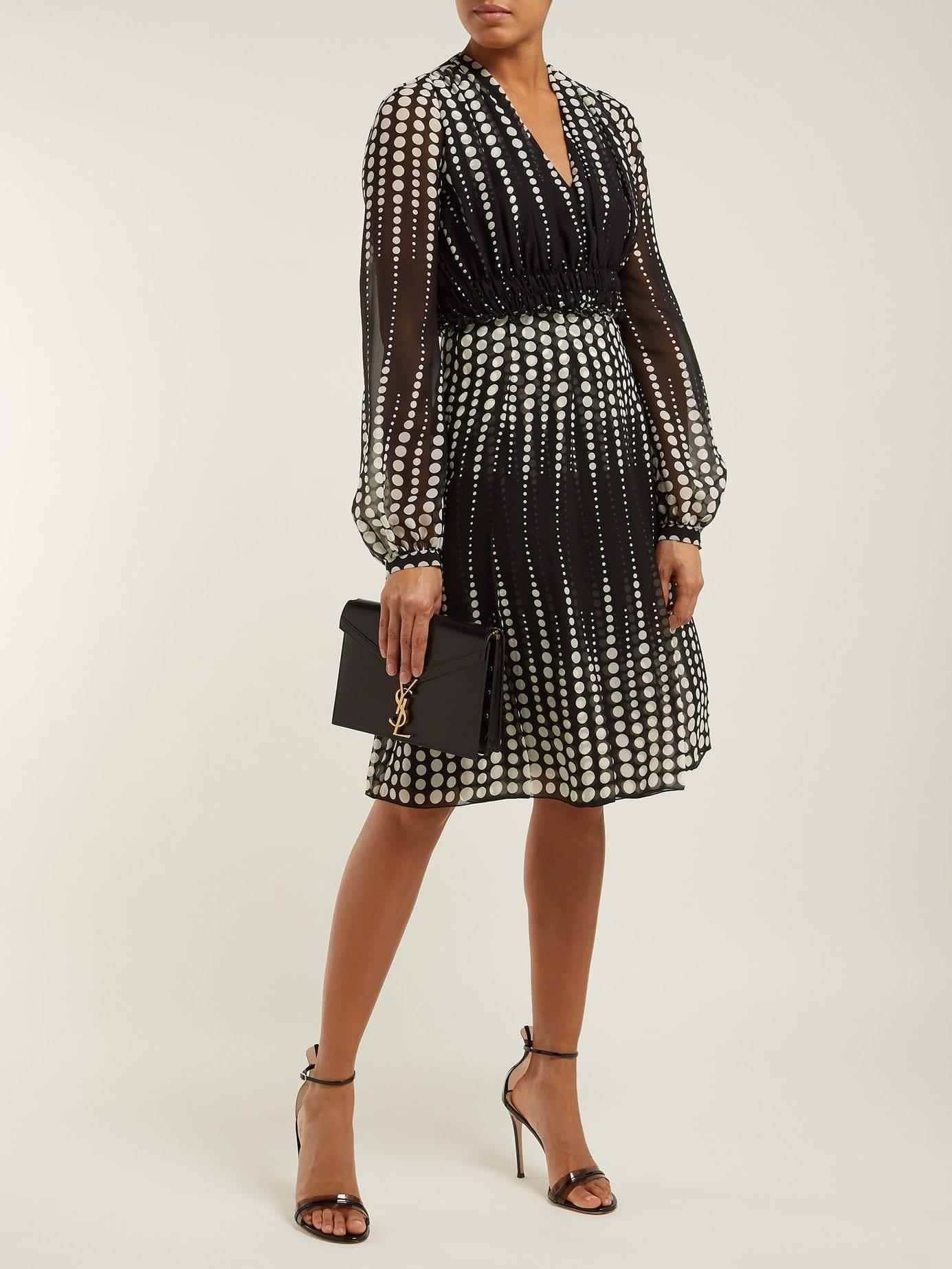 6f4c4958791 GIAMBATTISTA VALLI Polka-Dot Silk-Chiffon Black Dress - We Select ...