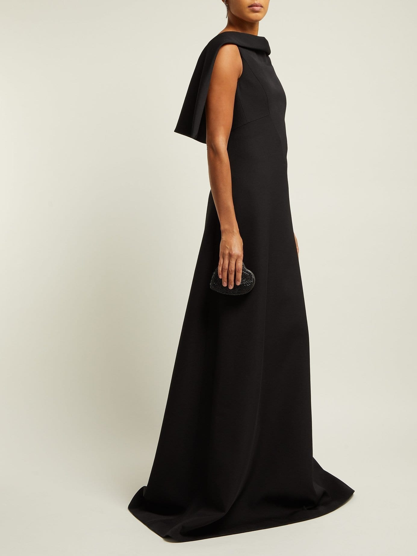 GIVENCHY Cape-Shoulder Wool-Crepe Black Gown