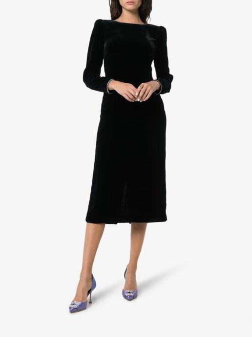 GUCCI Crystal Embellished Open Back Silk Blend Velvet Black Dress