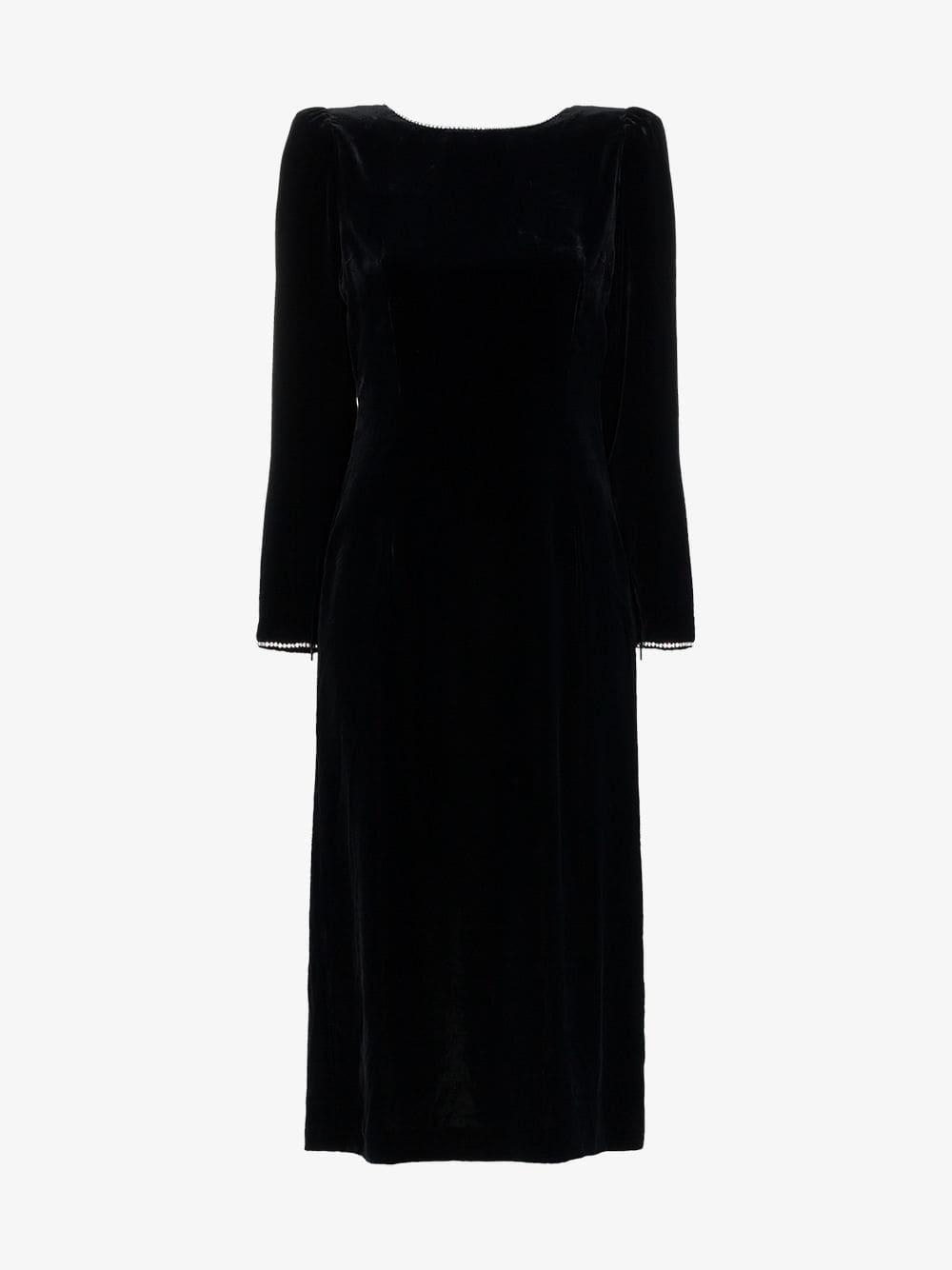 68fbdfb14 GUCCI Crystal Embellished Open Back Silk Blend Velvet Black Dress ...