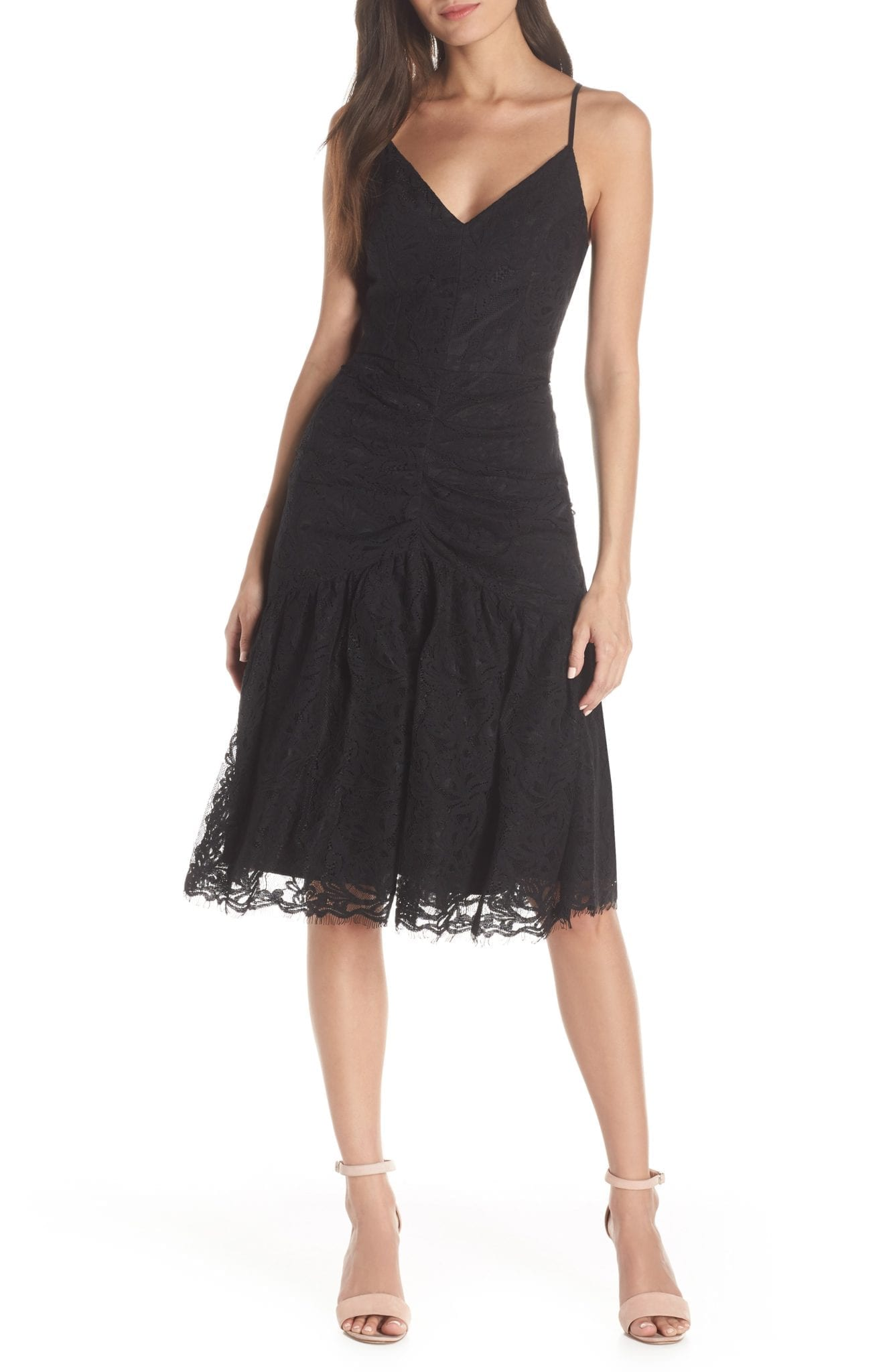 d02d741623b5 HARLYN Ruched Front V-Neck Lace Midi Black Dress - We Select Dresses