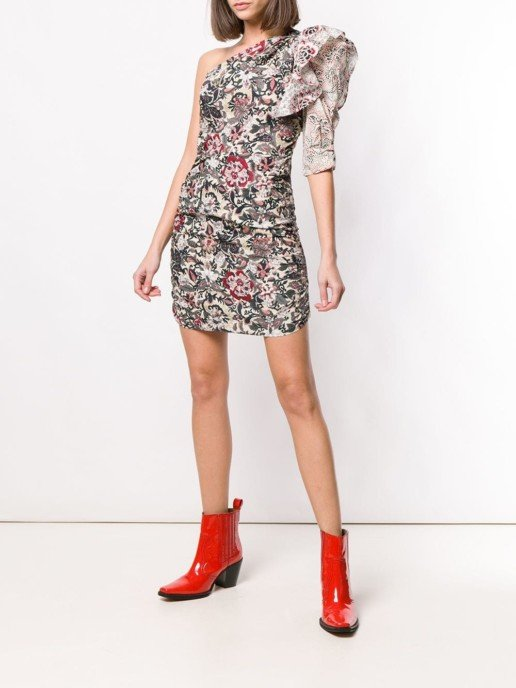 ISABEL MARANT ÉTOILE One-shoulder Floral Printed Dress