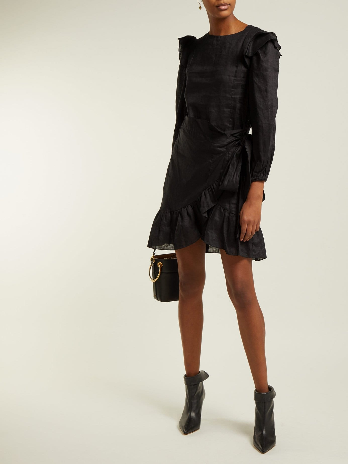 ISABEL MARANT ÉTOILE Telicia Ruffled Linen Mini Black Dress