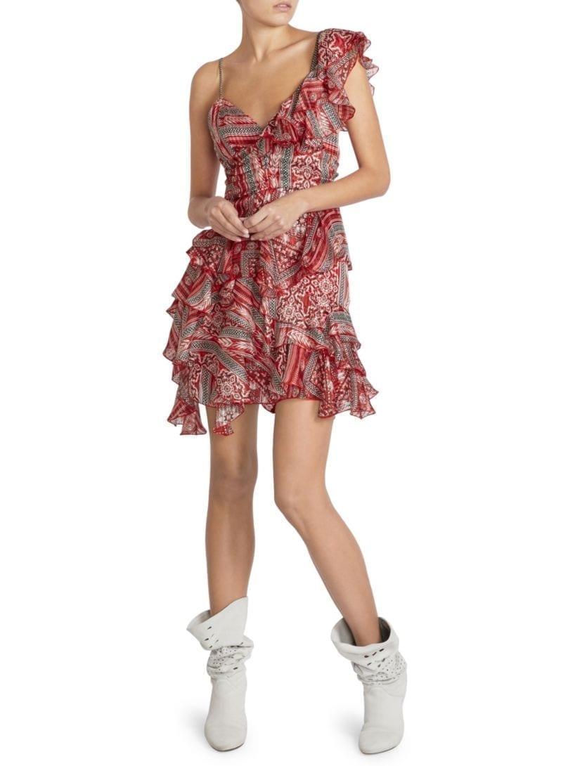 ISABEL MARANT Enta Silk Ruffle Red Dress