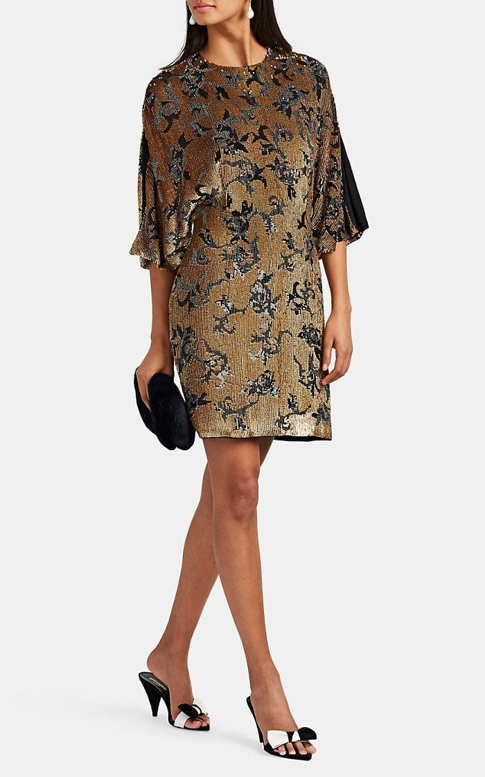 J. MENDEL Sequined Silk Cocktail Shift Gold / Black Dress
