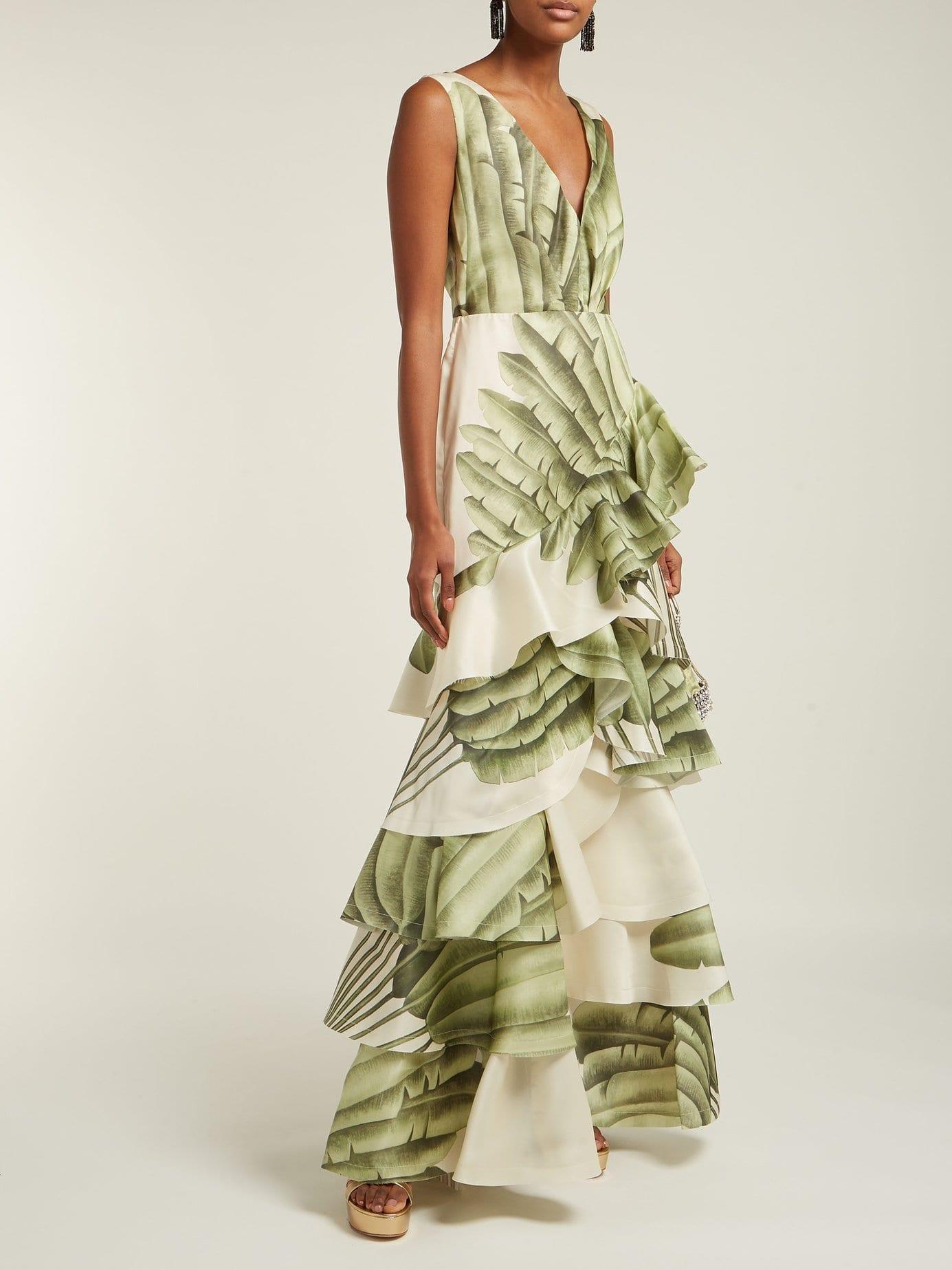 JOHANNA ORTIZ Coconut Palm Leaf-print Silk-organza Ivory Gown