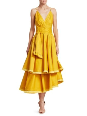 JOHANNA ORTIZ Ladies Who Lunch Tiered Yellow Dress