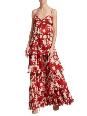 JOHANNA ORTIZ Old Garden Rose Silk Tiered Red Dress