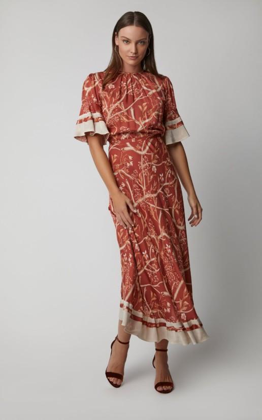 JOHANNA ORTIZ Rhapsody Silk Georgette Orange / Floral Printed Dress