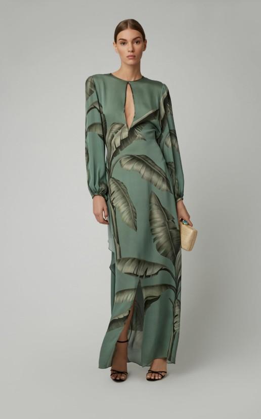 JOHANNA ORTIZ Spirit Of Aloha Silk Georgette Green Dress